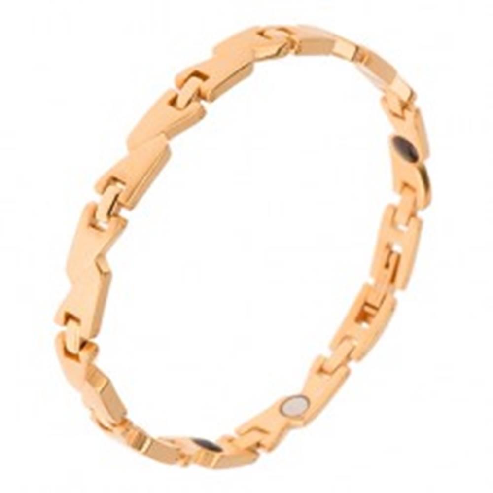 Šperky eshop Magnetický oceľový náramok zlatej farby, matné články a lesklé spoje