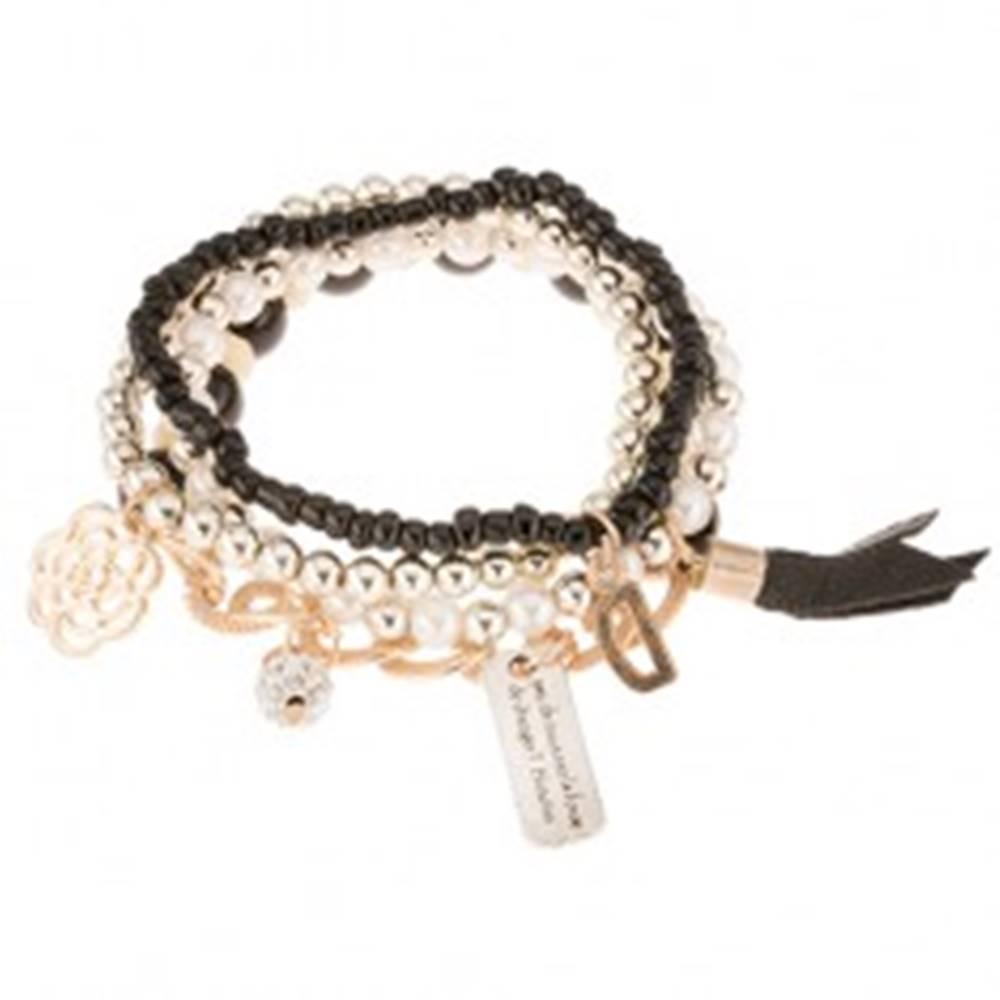 Šperky eshop Multináramok - viacfarebné korálky, obrúčky a prívesky zlatej farby, trblietavá gulička