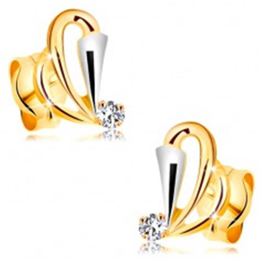 Šperky eshop Náušnice v 14K zlate - kontúry slzičiek, rozšírený pás z bieleho zlata a číry zirkón