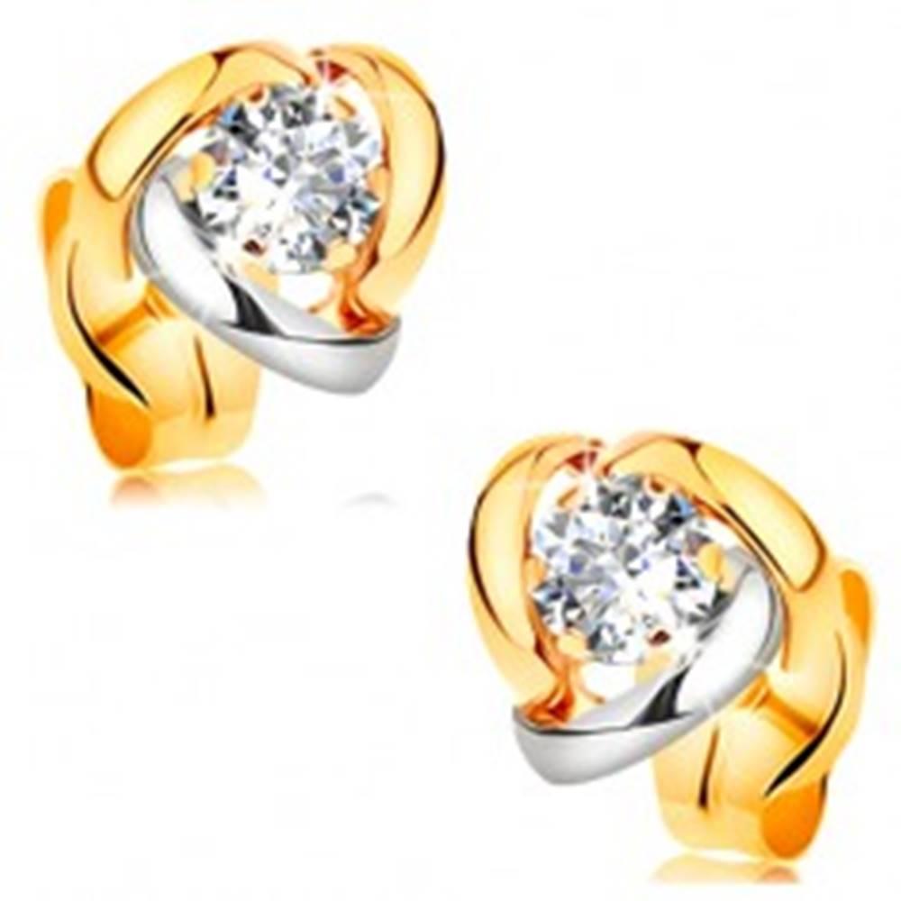Šperky eshop Náušnice v 14K zlate - žiarivý číry briliant lemovaný dvojfarebnými oblúkmi