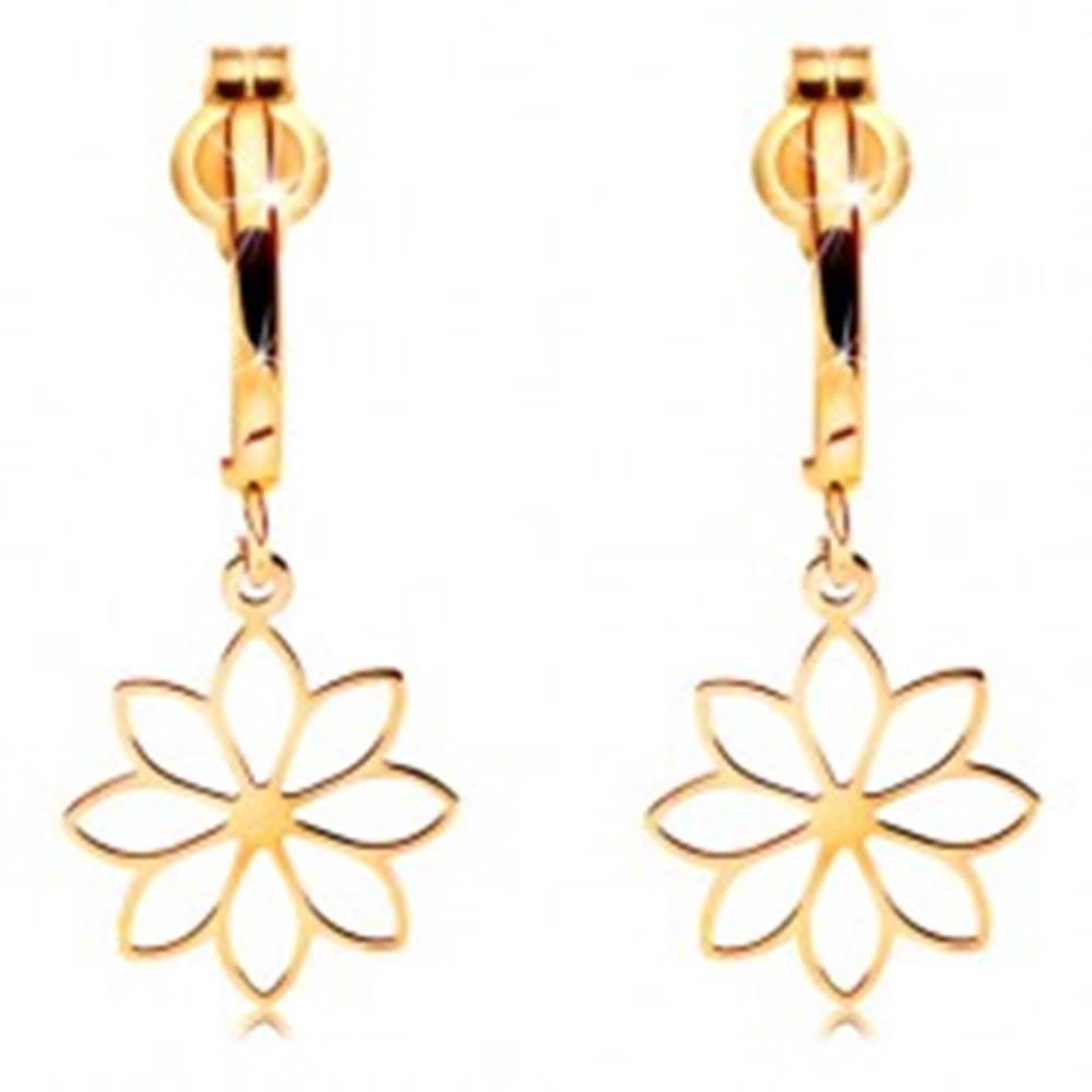 Šperky eshop Náušnice v žltom 14K zlate - kontúra kvetu visiaca na lesklom oblúčiku