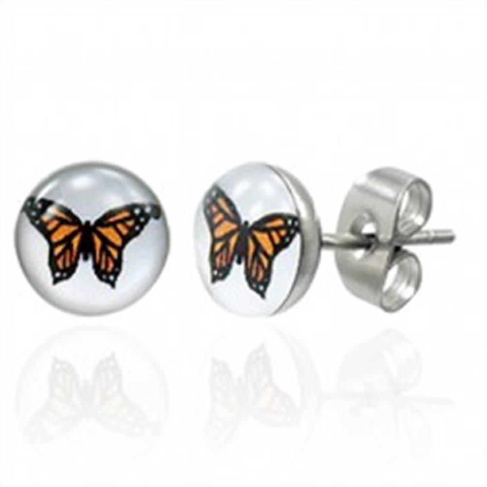 Šperky eshop Náušnice z chirurgickej ocele s oranžovým motýľom