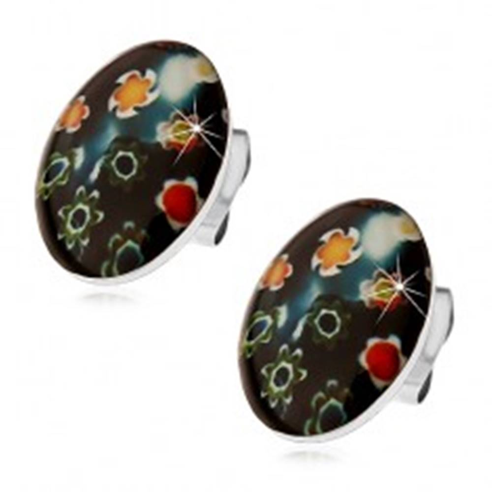 Šperky eshop Náušnice z ocele 316L, čierny ovál s farebnými kvetmi, puzetky