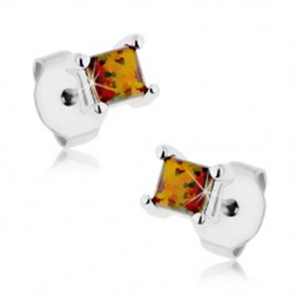 Šperky eshop Náušnice z ocele 316L, štvorcový syntetický opál oranžovej a zelenej farby, 3 mm