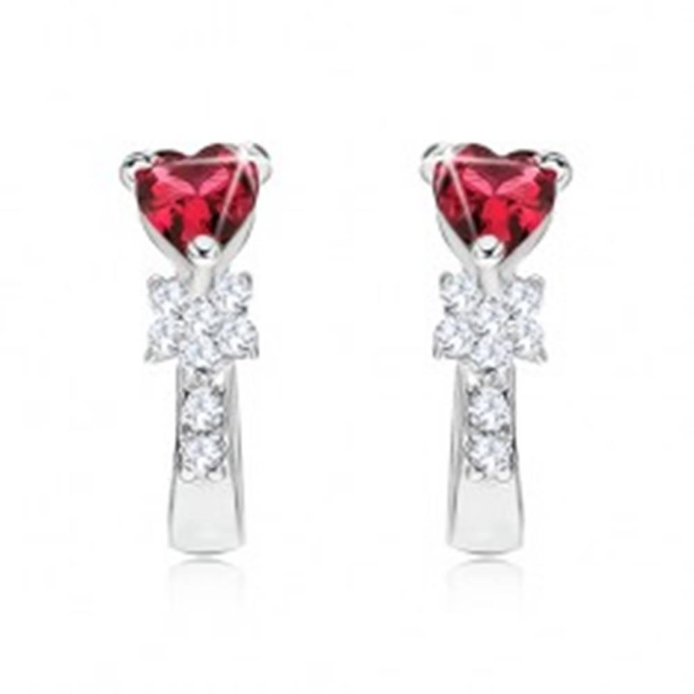 Šperky eshop Náušnice zo striebra 925, červený srdiečkový kameň, kvet, číre zirkóny