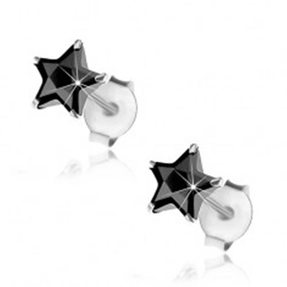 Šperky eshop Náušnice zo striebra 925, puzetky, brúsená hviezdička z čierneho zirkónu, 6 mm