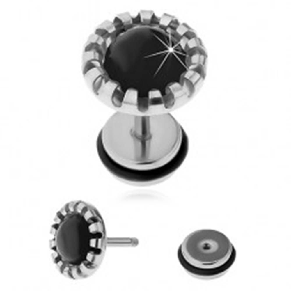 Šperky eshop Nepravý plug do ucha z chirurgickej ocele, čierne syntetické mačacie oko