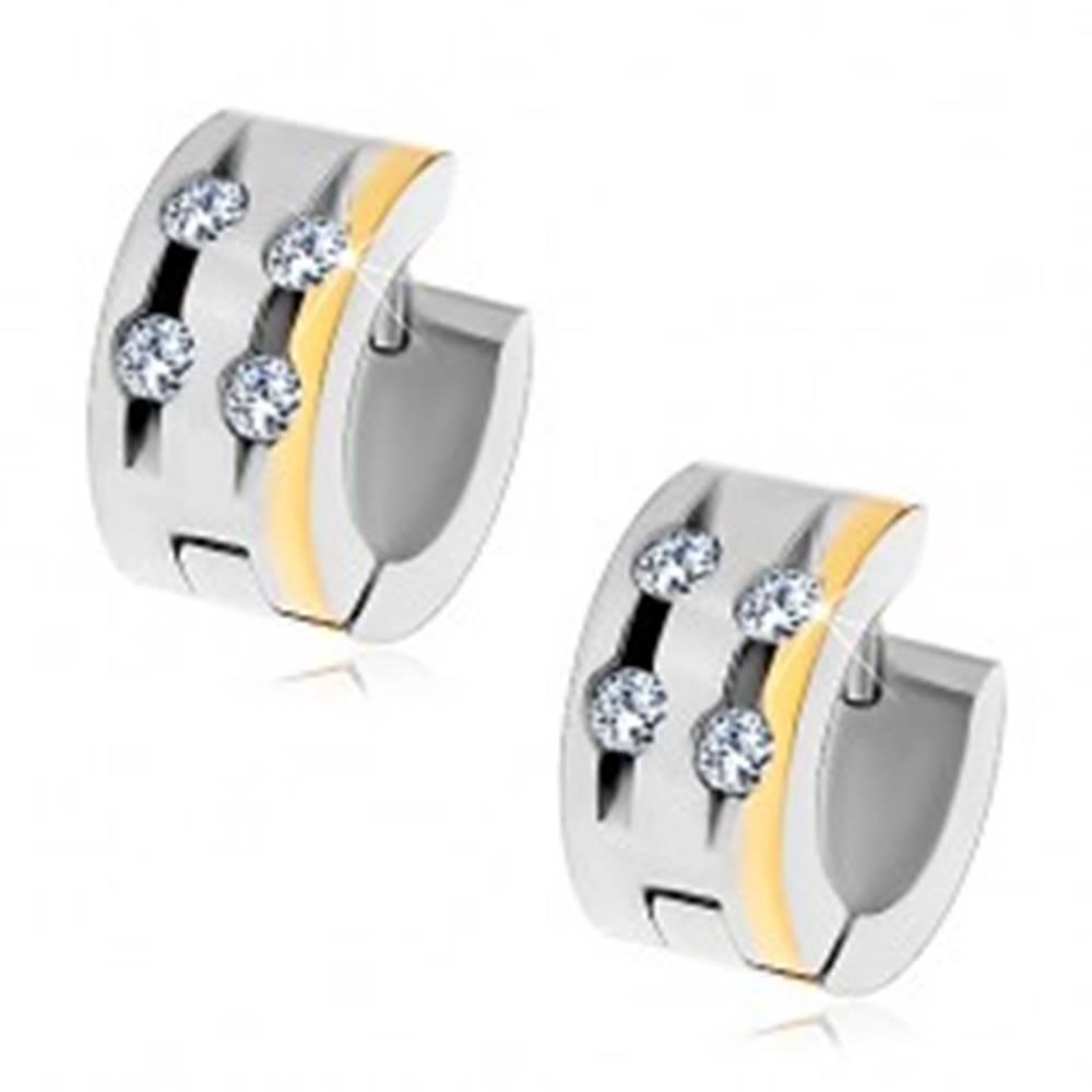 Šperky eshop Oceľové náušnice so štyrmi čírymi zirkónmi v zárezoch a pásom zlatej farby