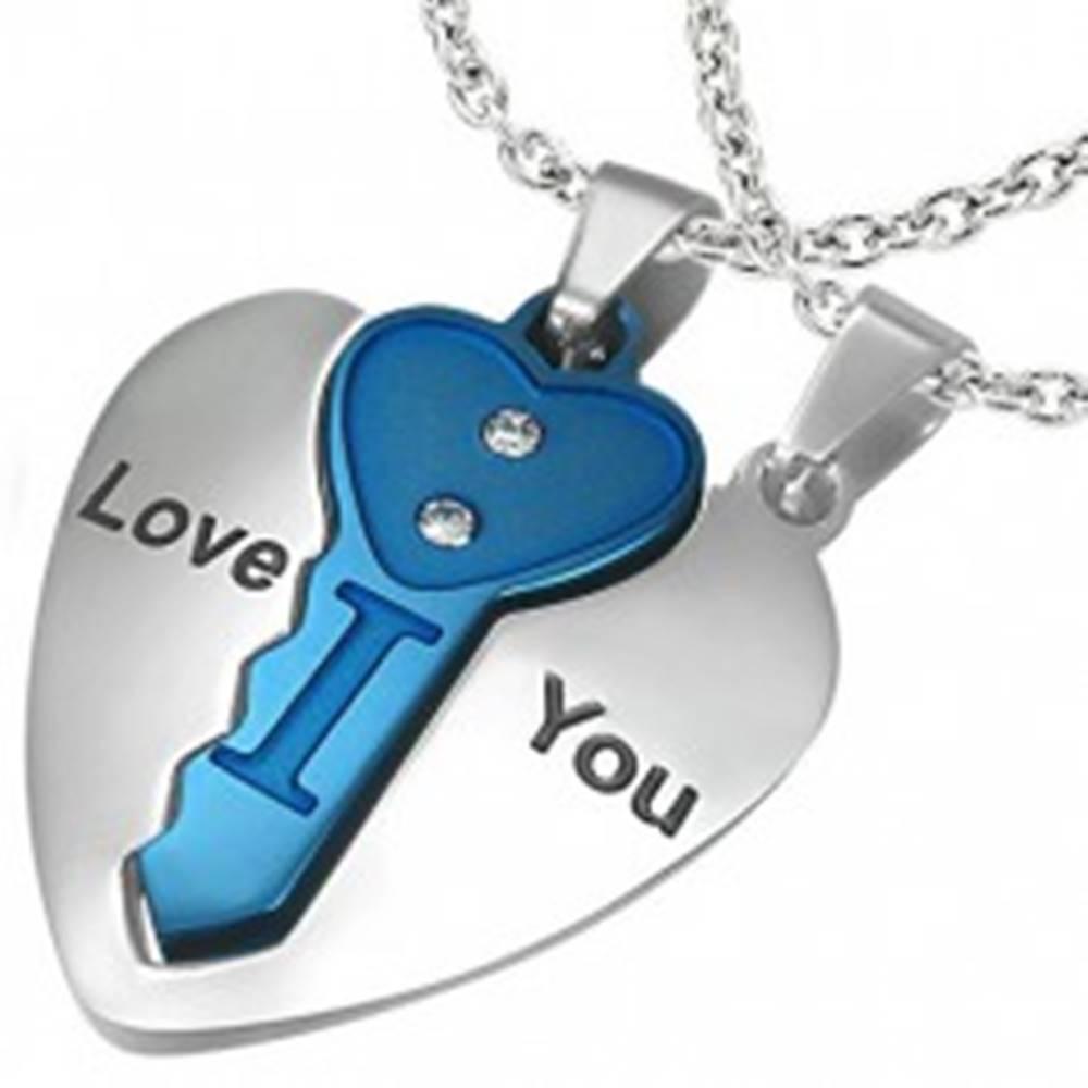Šperky eshop Oceľový dvojprívesok, srdce striebornej farby s modrým kľúčikom, nápis, zirkóny