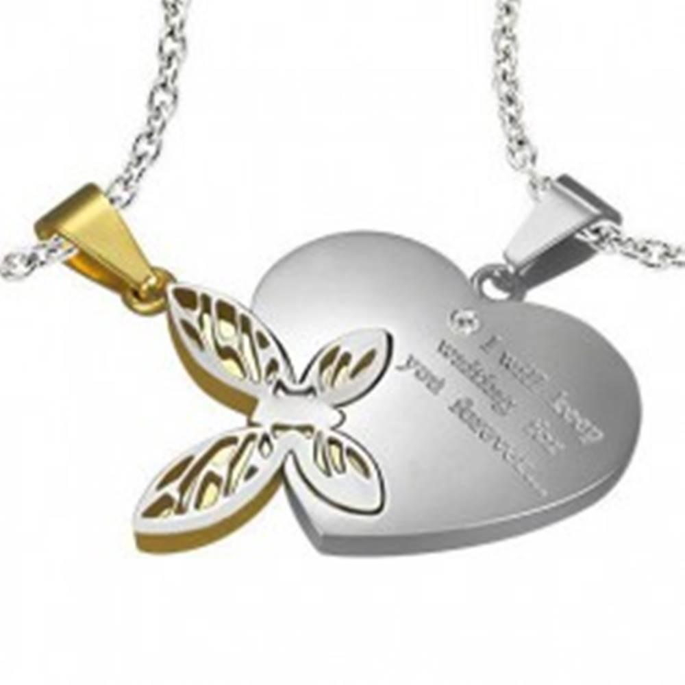 Šperky eshop Oceľový dvojprívesok, strieborná a zlatá farba, srdce s nápisom, motýlik s výrezmi