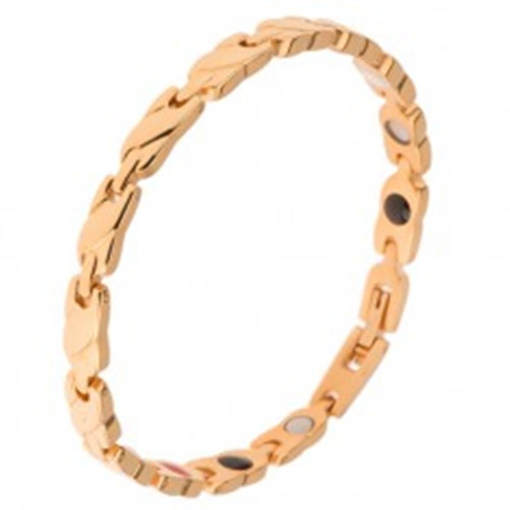 Šperky eshop Oceľový náramok zlatej farby, články s vyvýšeným šikmým pásom, magnety