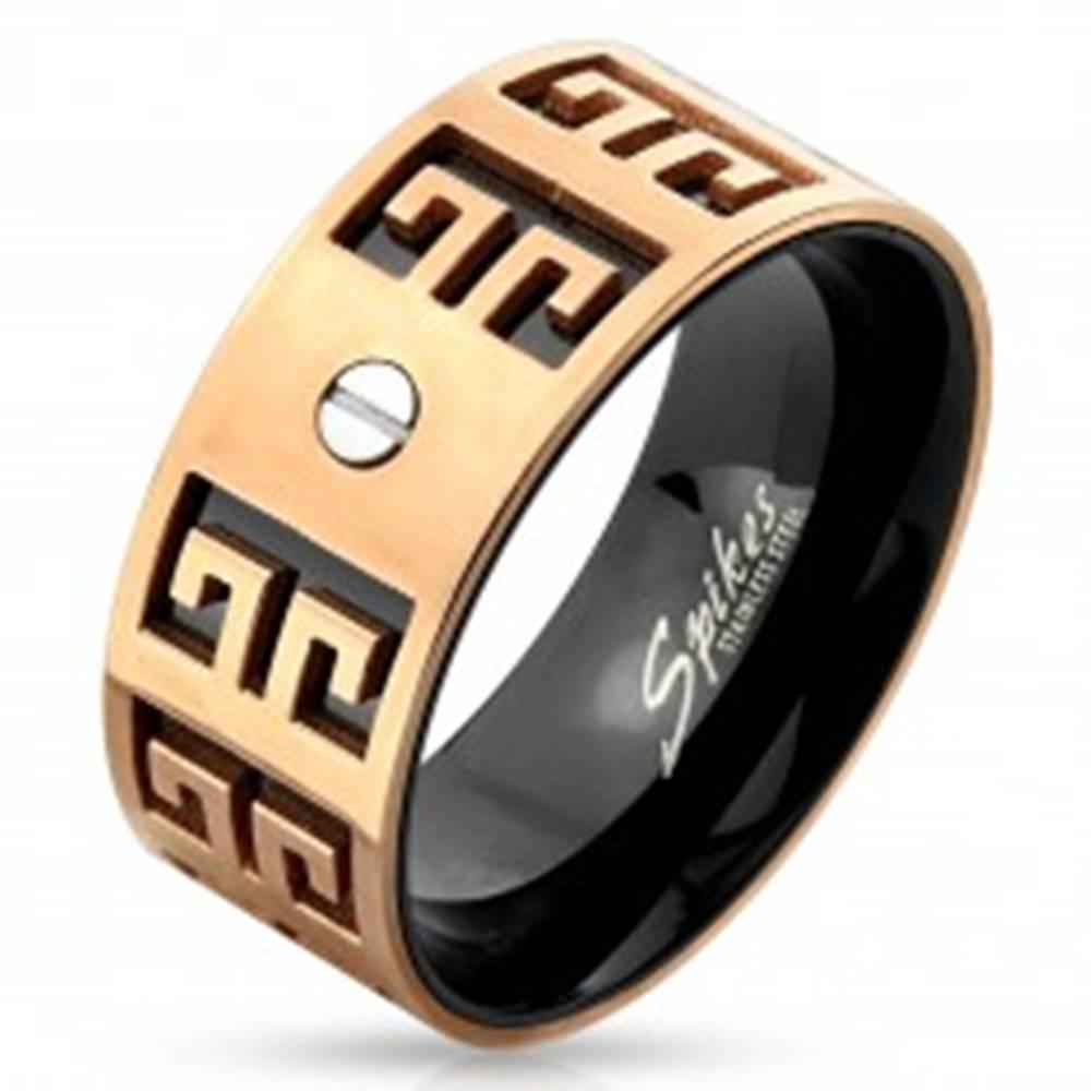 Šperky eshop Oceľový prsteň - medeno-čierna kombinácia, vyryté symboly, malá skrutka, 9 mm - Veľkosť: 60 mm