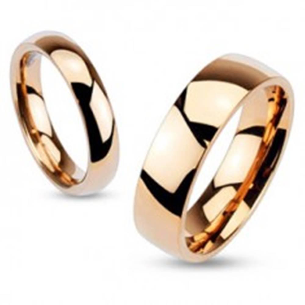 Šperky eshop Oceľový prsteň v medenom odtieni, vypuklé lesklé ramená, 3 mm - Veľkosť: 48 mm