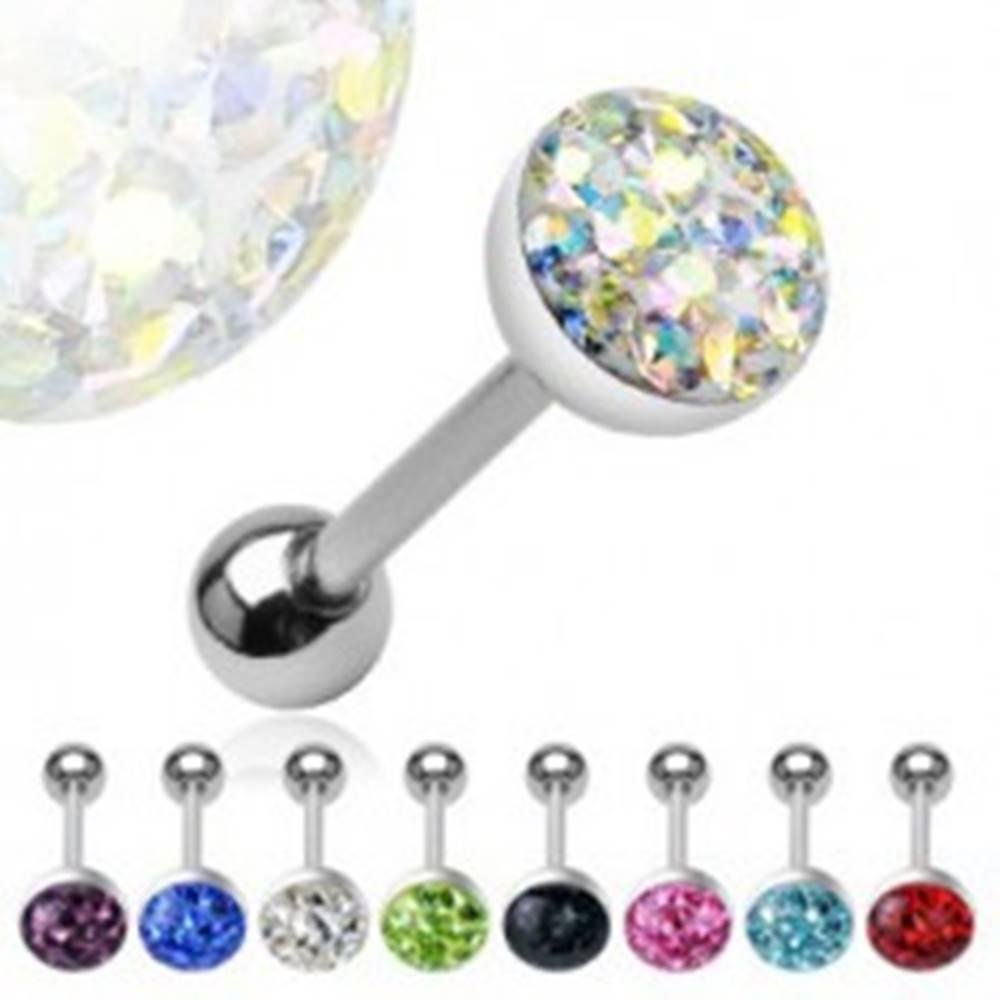 Šperky eshop Piercing do jazyka vyložený zirkónmi zaliaty - Farba zirkónu: Aqua modrá - Q