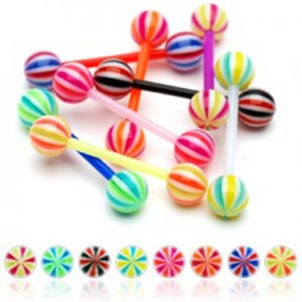 Šperky eshop Piercing do jazyka z UV flexibilného materiálu cukríková gulička - Farba piercing: Čierna - Biela - Červená - KWR