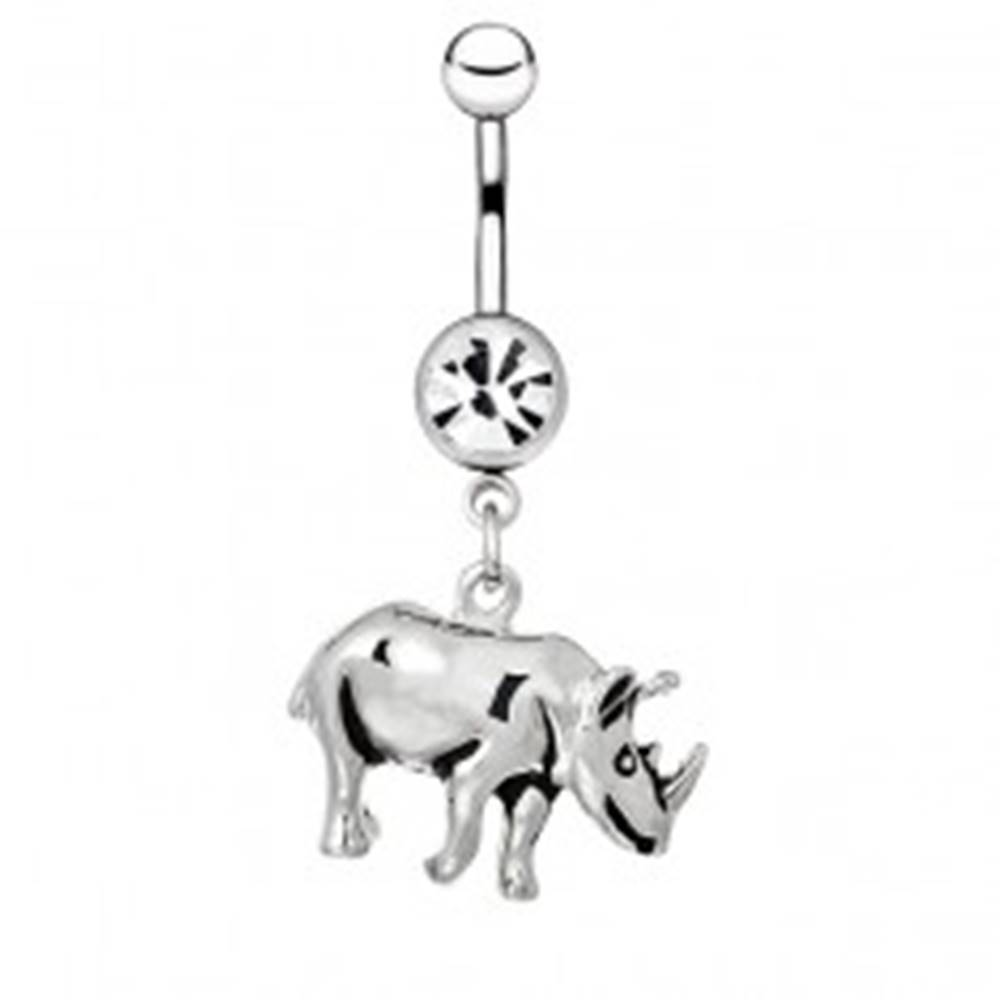 Šperky eshop Piercing do pupku z ocele - lesklý nosorožec s patinou