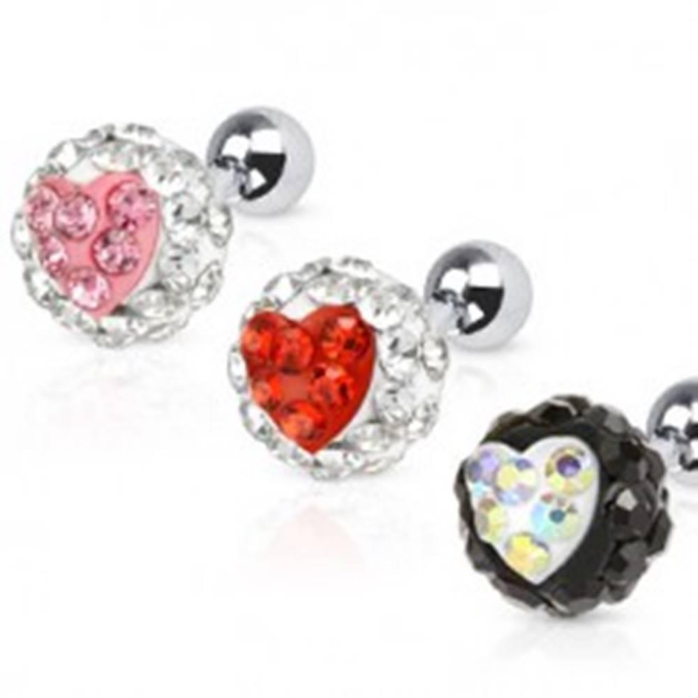Šperky eshop Piercing do ucha z ocele - gulička so srdiečkom - Farba zirkónu: Červená - R