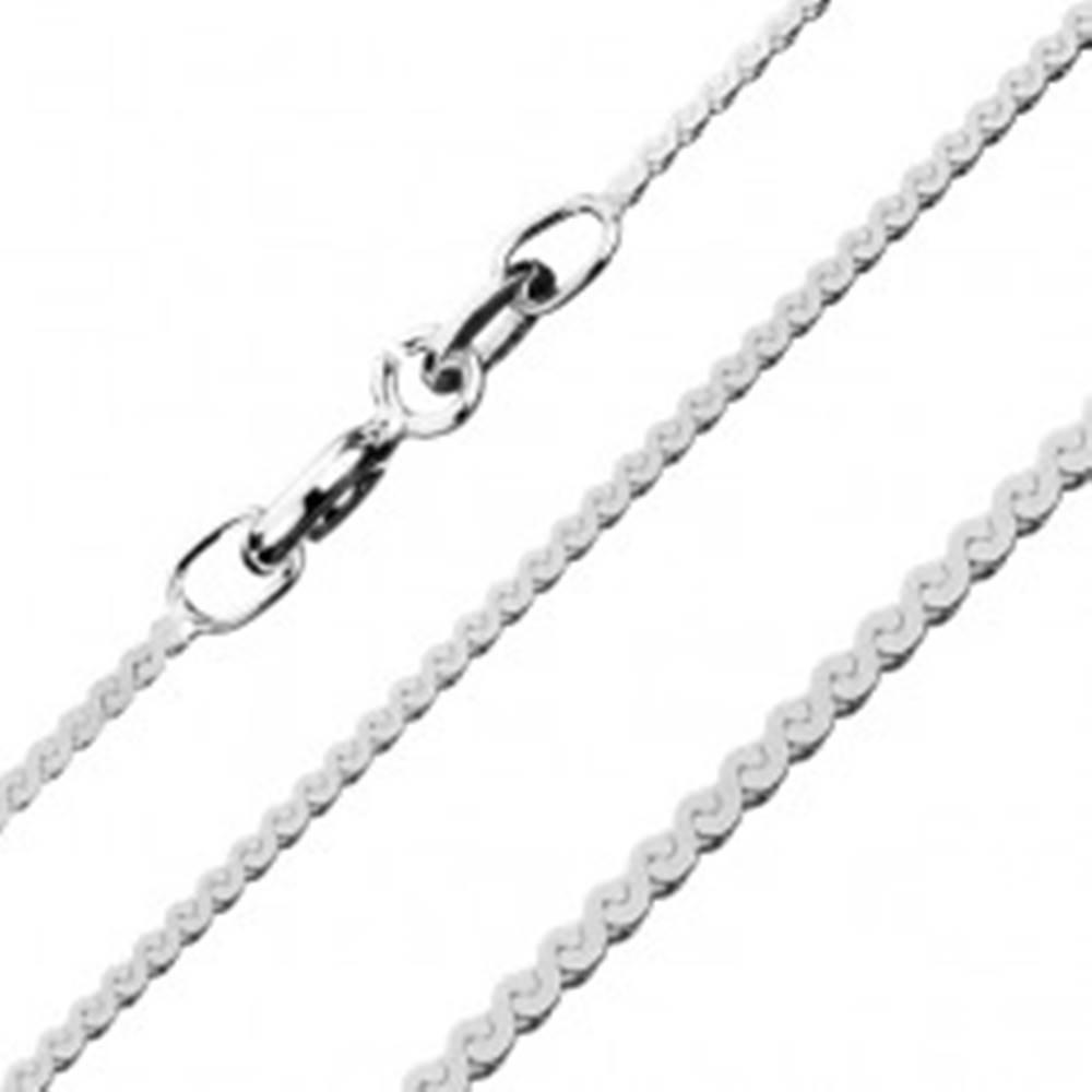 Šperky eshop Plochá strieborná retiazka 925 - rad esovitých článkov, 1,1 mm