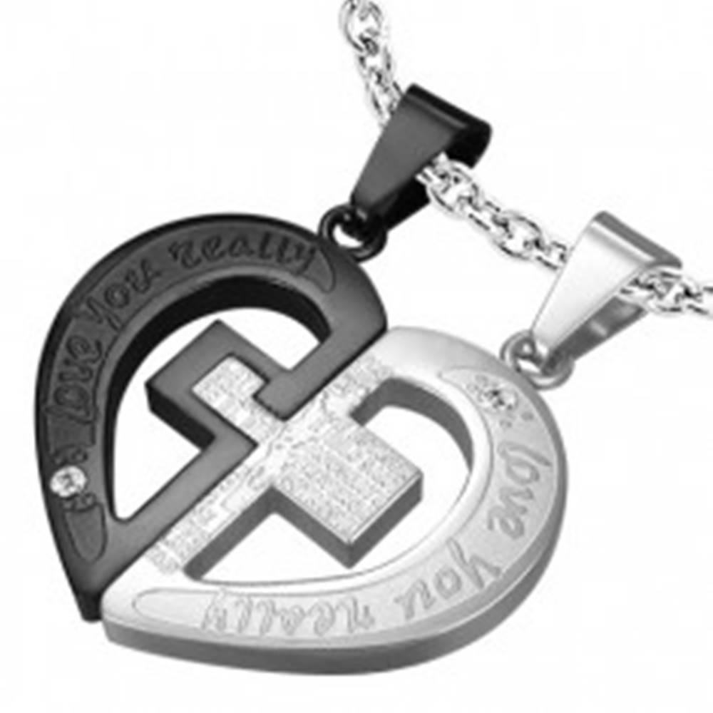 Šperky eshop Prívesok pre pár, oceľ 316L, strieborný a čierny odtieň, srdce, kríž