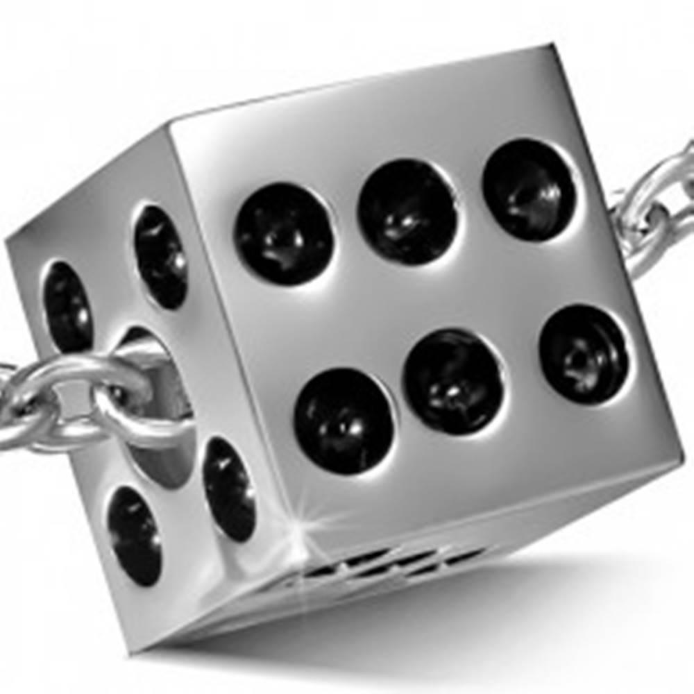 Šperky eshop Prívesok z chirurgickej ocele, matná hracia kocka, čierne glazúrované bodky