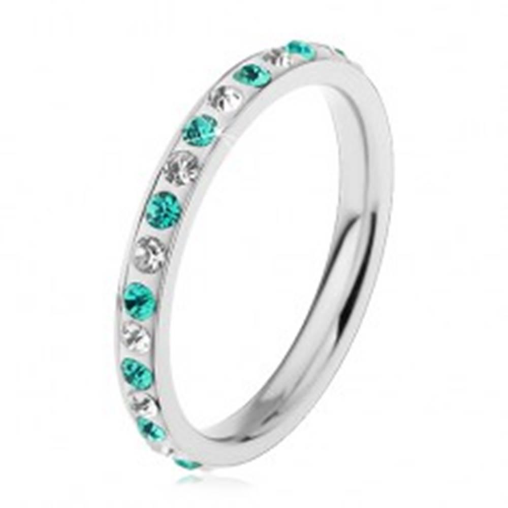 Šperky eshop Prsteň z chirurgickej ocele v striebornej farbe, svetlomodré a číre zirkóniky - Veľkosť: 49 mm