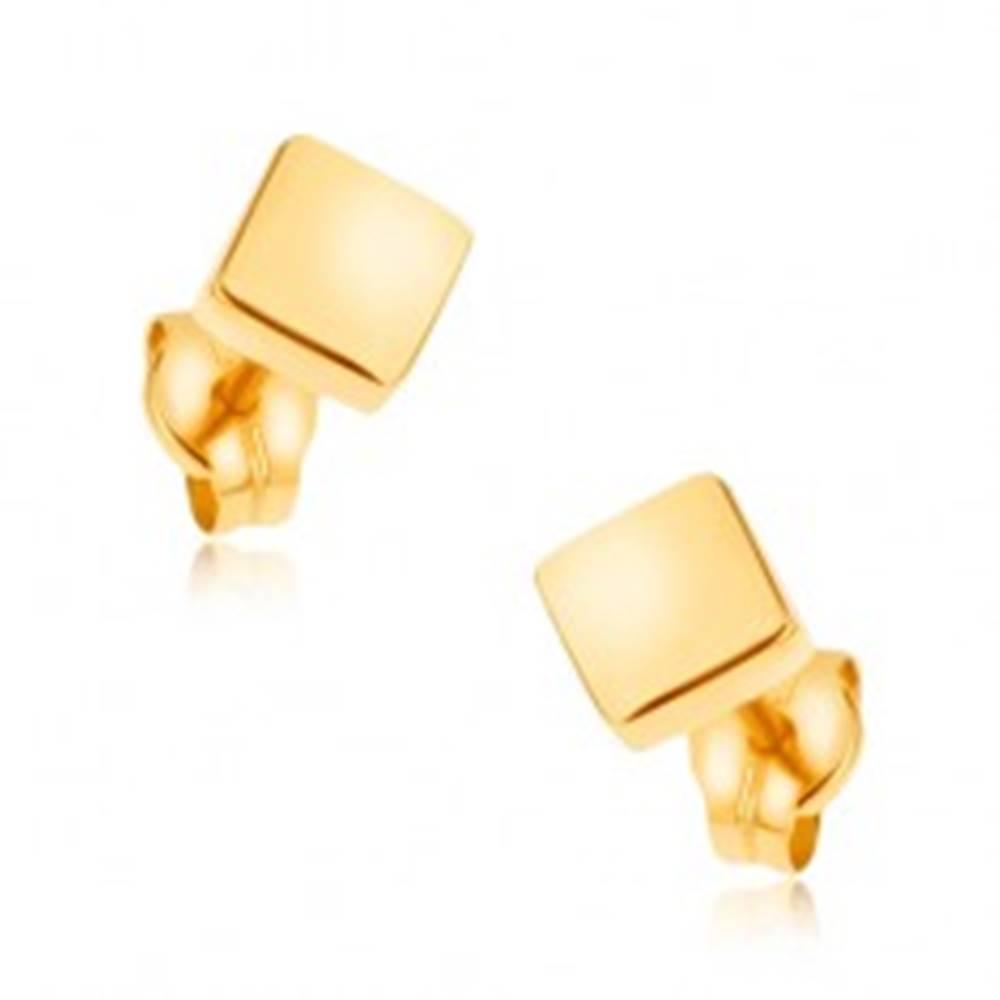 Šperky eshop Puzetové náušnice v žltom 9K zlate - ligotavé štvorce, hladký povrch