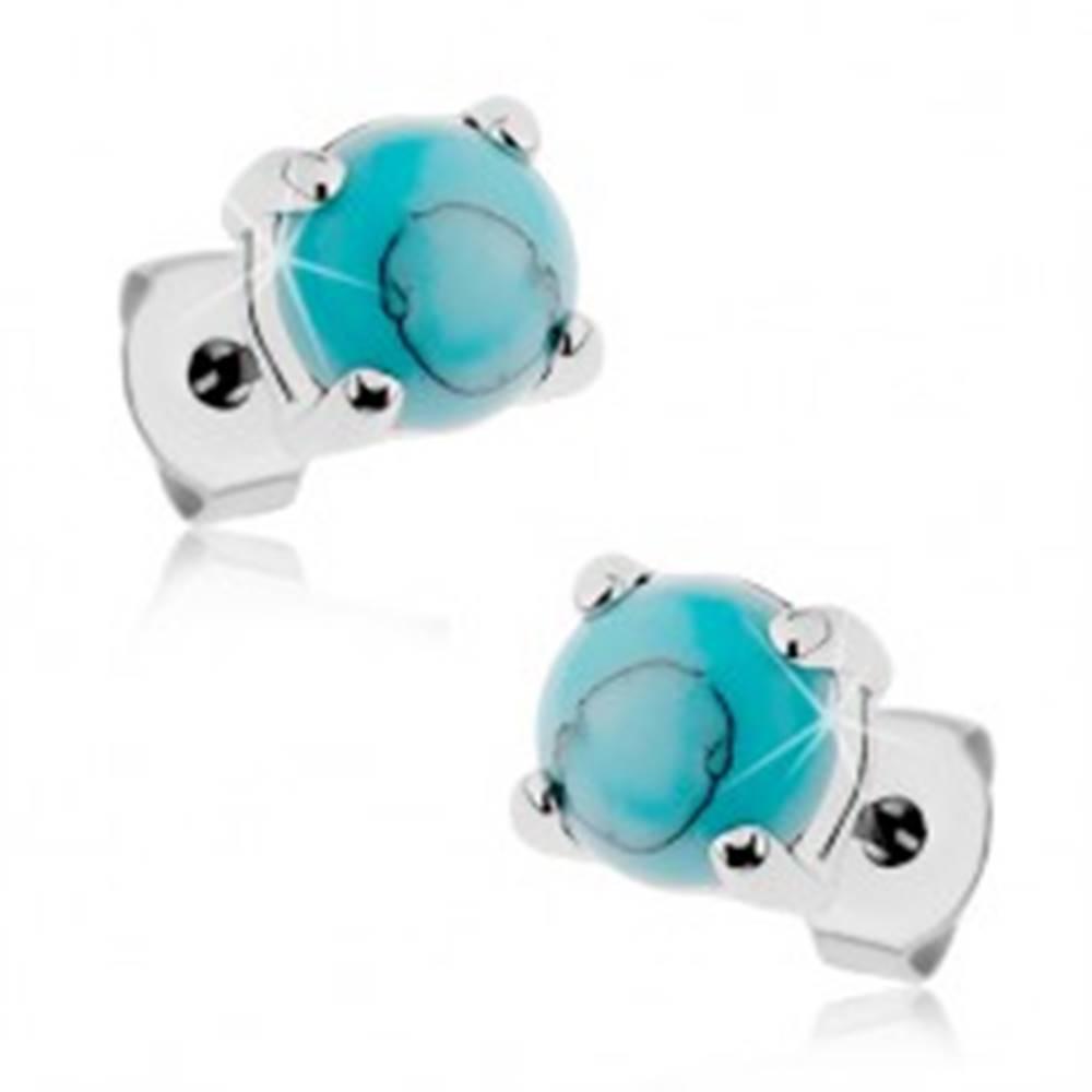 Šperky eshop Puzetové oceľové náušnice striebornej farby, okrúhly tyrkysový kamienok - Hlavička: 3 mm