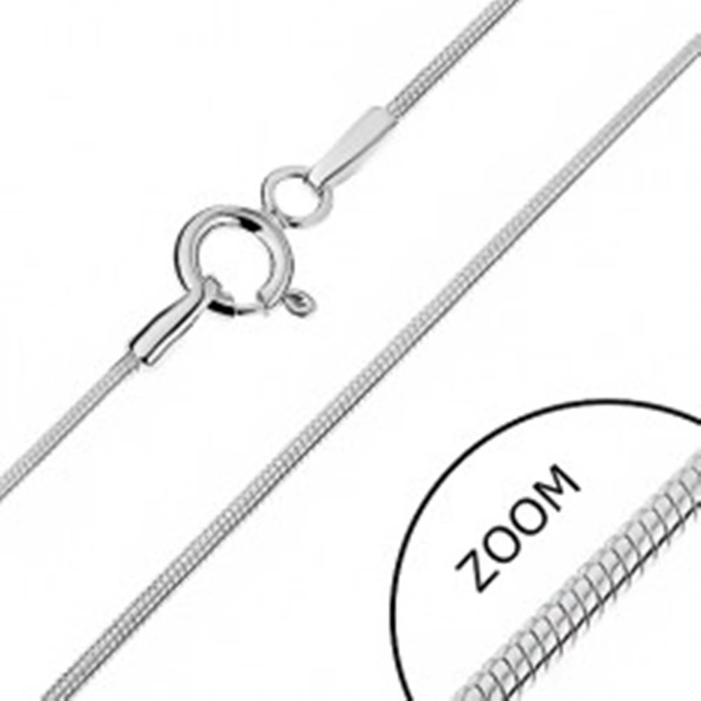 Šperky eshop Retiazka zo striebra 925 - zaoblená s hadím dizajnom, 1 mm