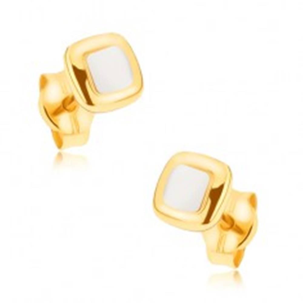 Šperky eshop Ródiované náušnice z 9K zlata - mierne vypuklé dvojfarebné štvorce