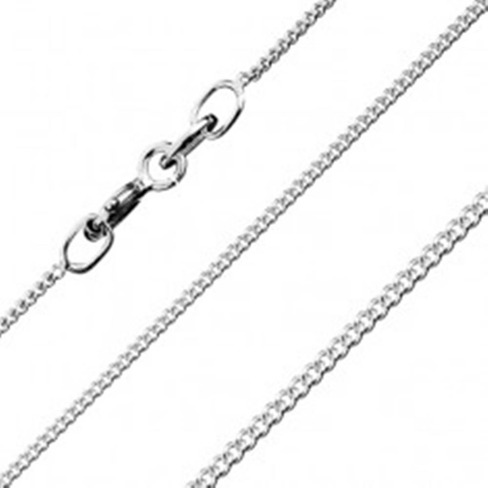 Šperky eshop Strieborná retiazka 925 - hladké prehnuté očká, 1 mm