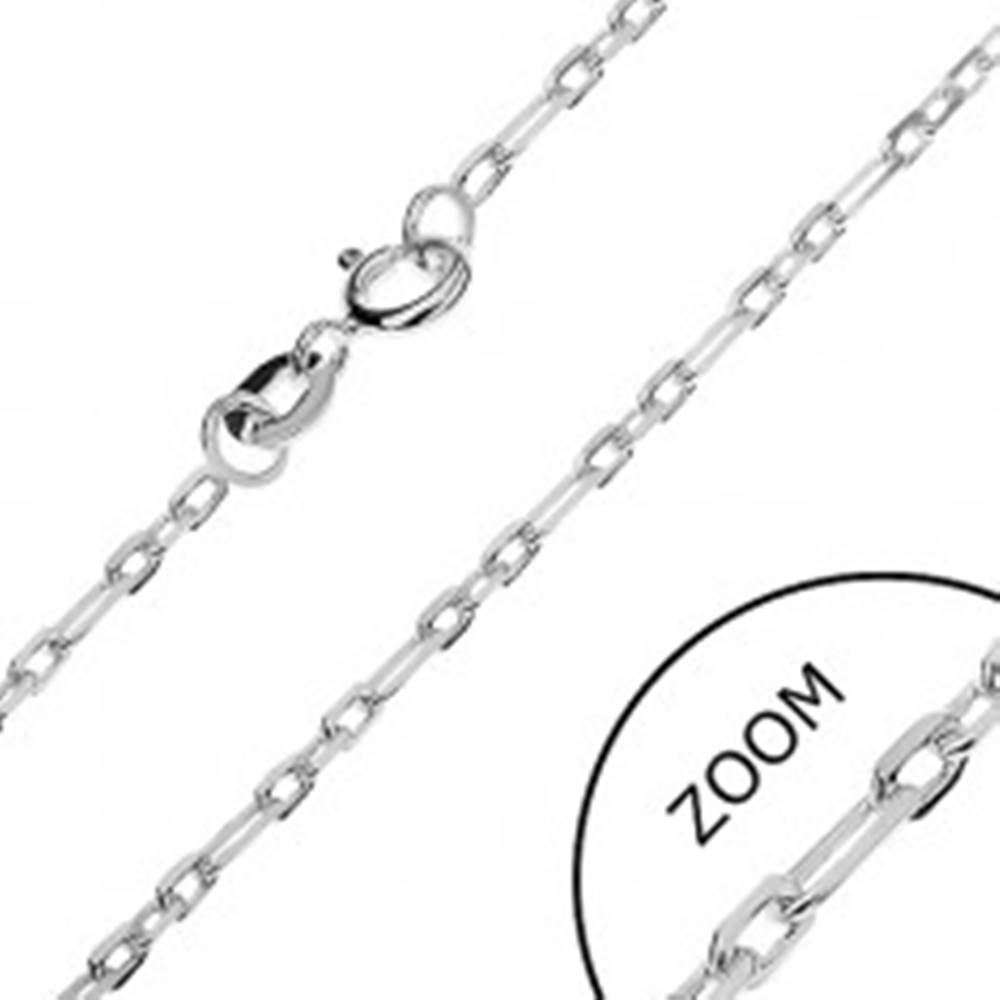 Šperky eshop Strieborná retiazka 925 - lesklé obdĺžniky, 2 mm