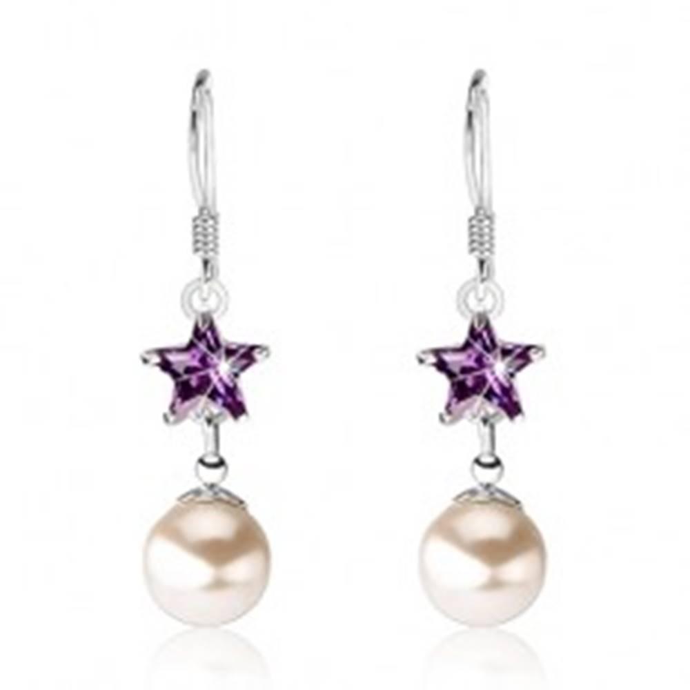 Šperky eshop Strieborné 925 náušnice, fialový zirkón - hviezdička, perla, afroháčik