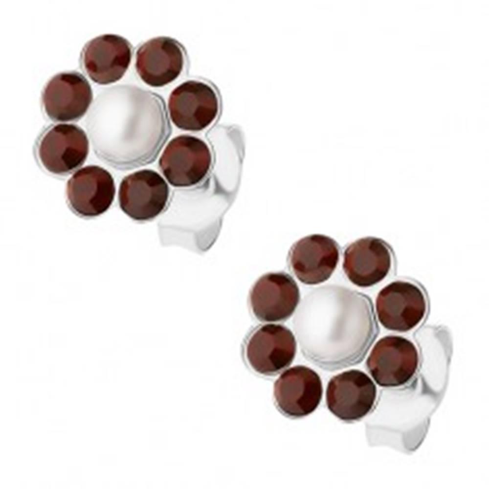 Šperky eshop Strieborné 925 náušnice, kvietok z bielej perličky a tmavobordových krištálikov