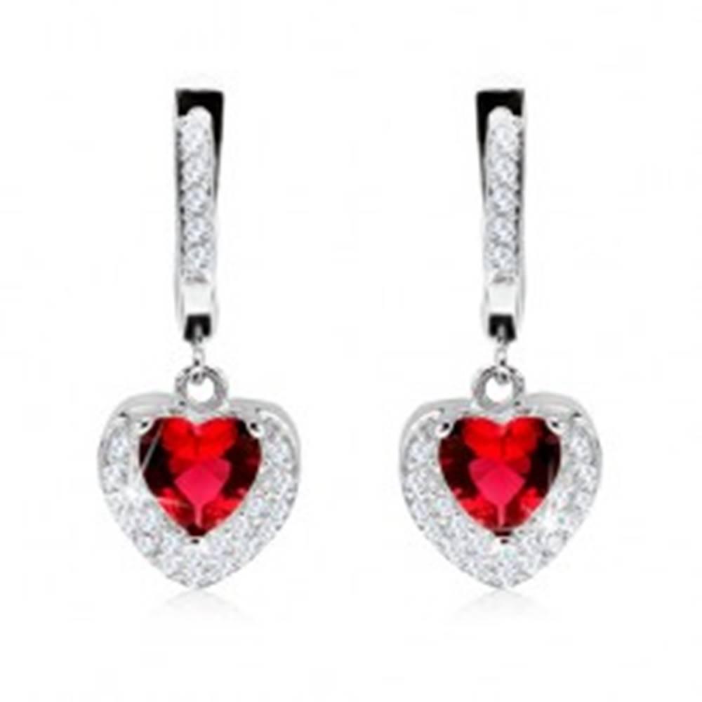 Šperky eshop Strieborné 925 náušnice, prívesok s červeným zirkónom, dvojité srdce, číre kamienky