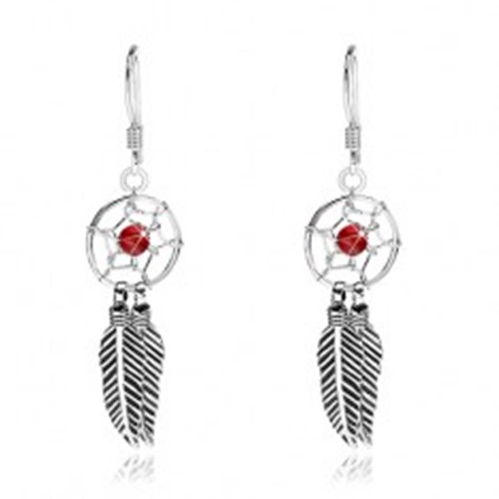 Šperky eshop Strieborné náušnice 925, lapač snov s červenou guľôčkou a pierkami, 10 mm