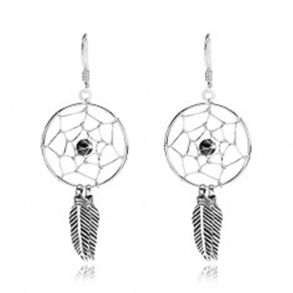 Šperky eshop Strieborné náušnice 925, lapač snov s čiernou guličkou a pierkami, 20 mm