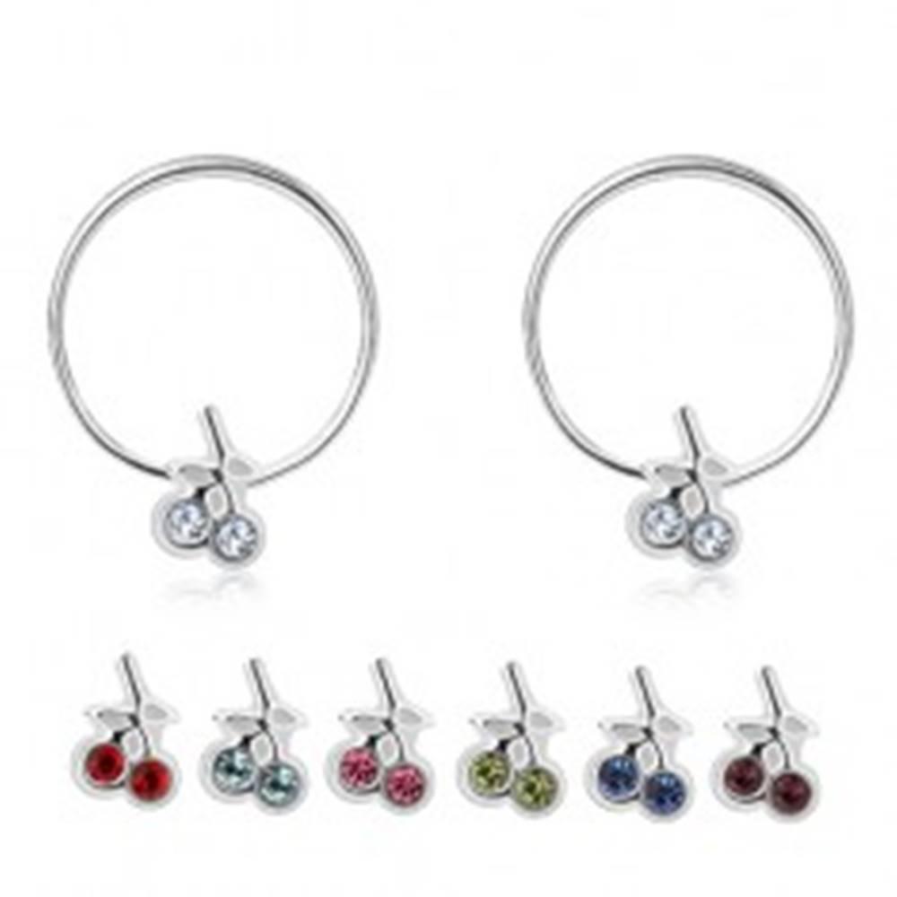 Šperky eshop Strieborné náušnice 925 - tenké kruhy s čerešničkami zo Swarovského krištáľov - Farba: Aqua modrá