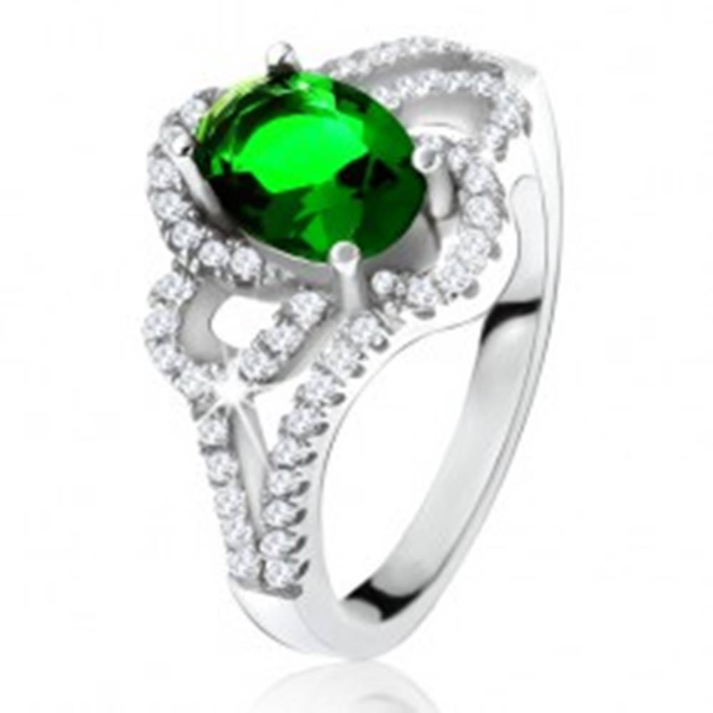 Šperky eshop Strieborný 925 prsteň, šikmý oválny zelený zirkón, zaoblené línie, číre kamienky - Veľkosť: 50 mm