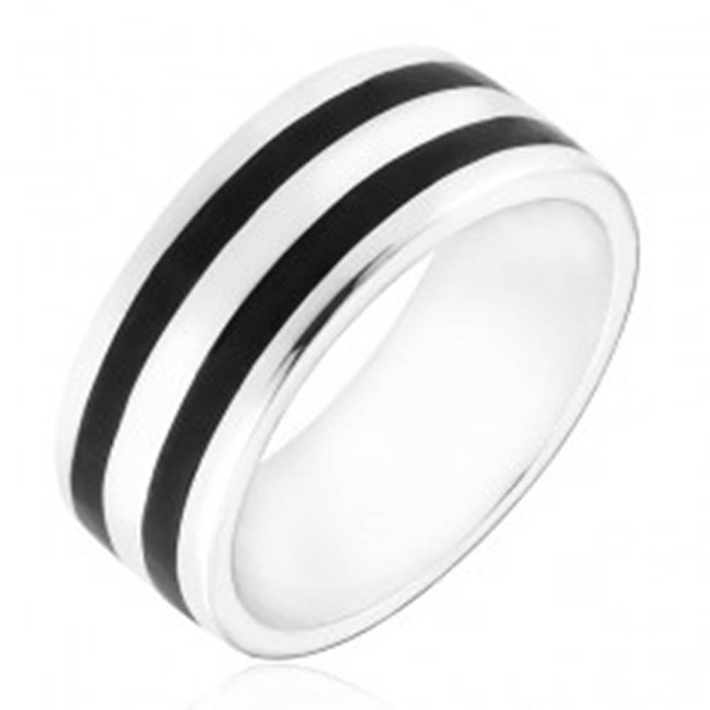Šperky eshop Strieborný prsteň 925 - obrúčka s dvomi čiernymi pásmi - Veľkosť: 50 mm