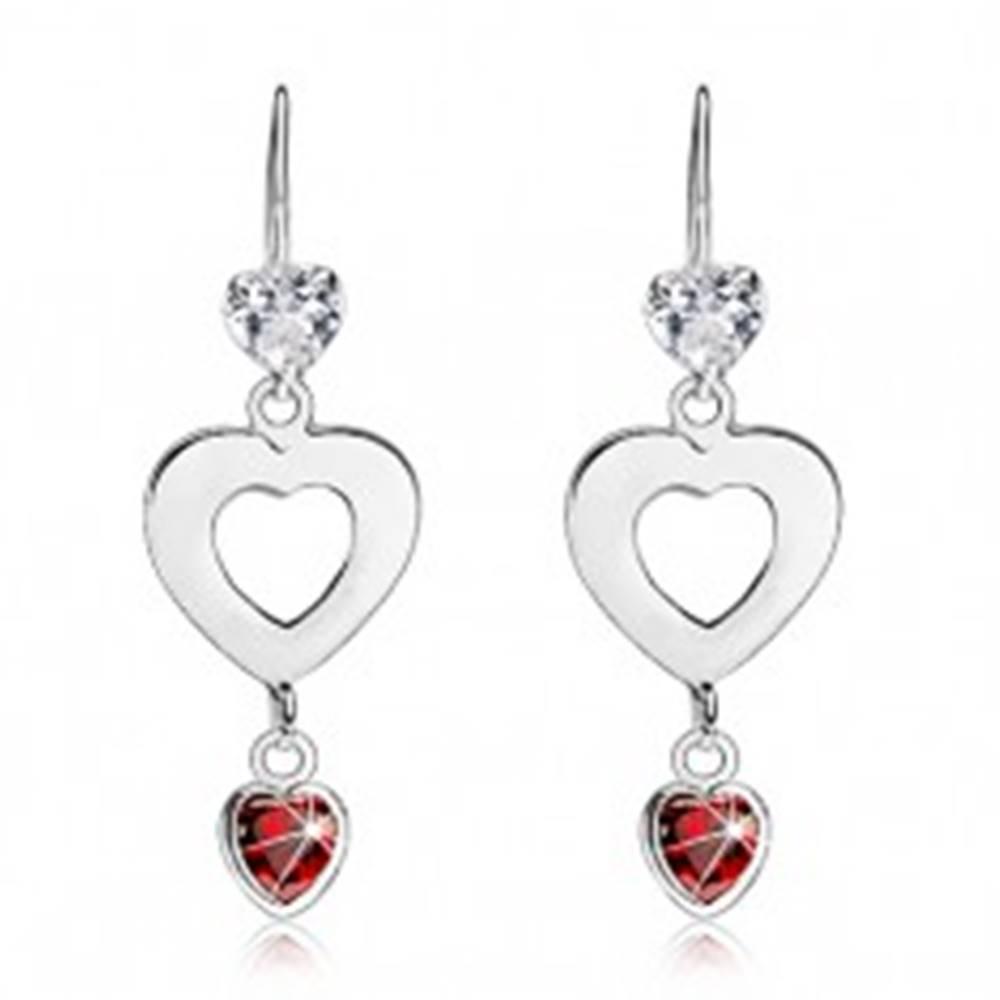 Šperky eshop Visiace náušnice, striebro 925, tri srdcia - dve zirkónové, jedno ploché s výrezom