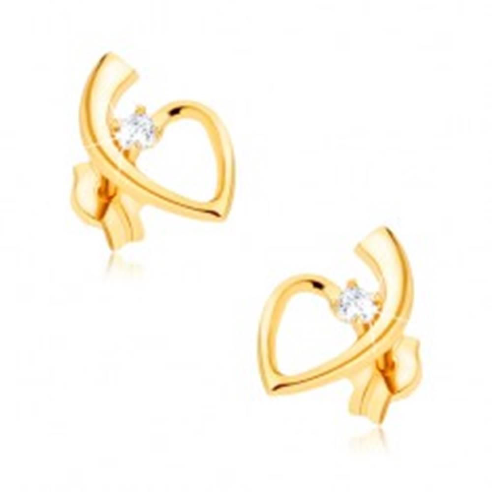 Šperky eshop Zlaté náušnice 375, lesklá kontúra srdca so stopkou, okrúhly zirkón