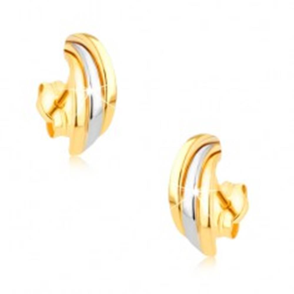 Šperky eshop Zlaté ródiované náušnice 375, tri lesklé dvojfarebné poloblúky