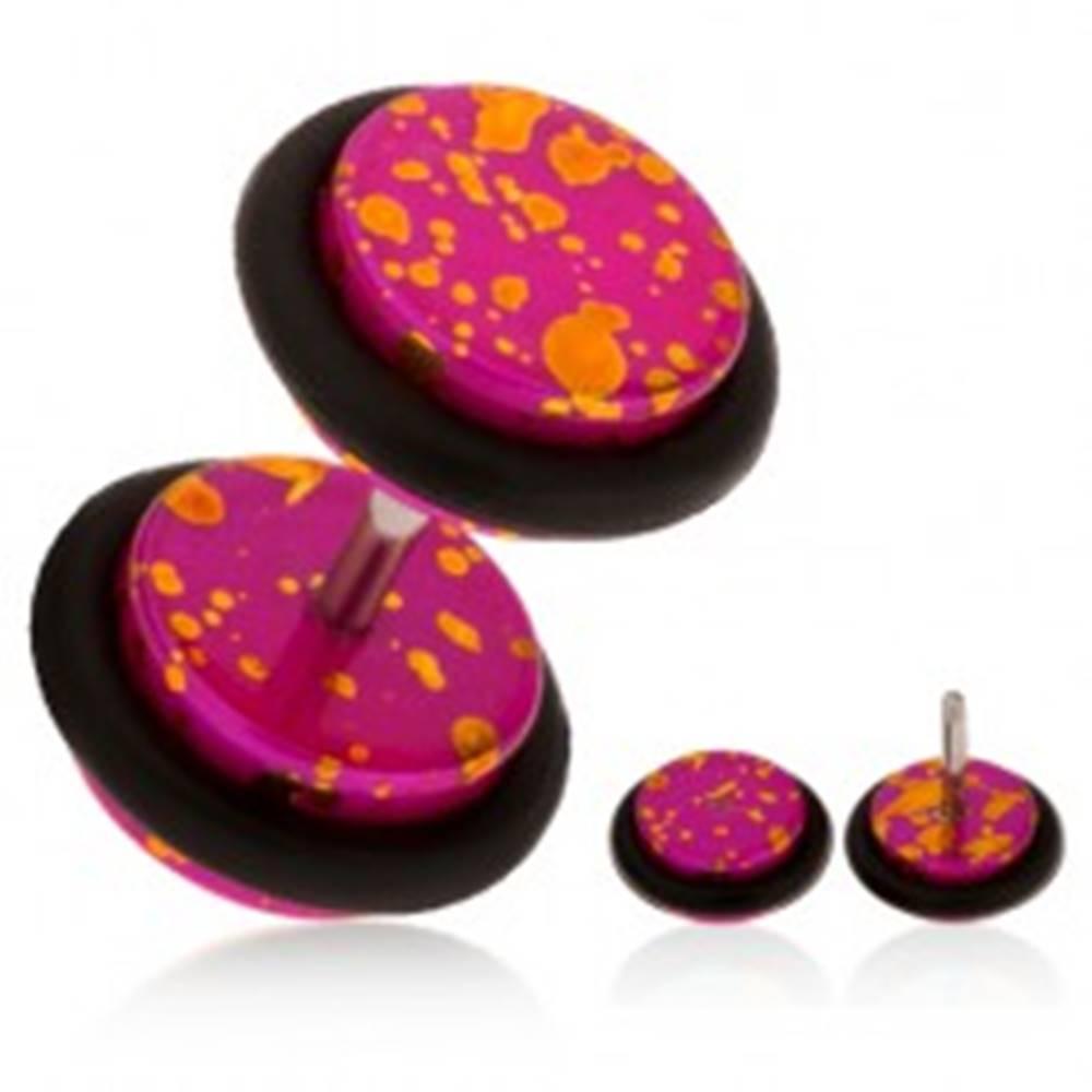 Šperky eshop Akrylový fake plug do ucha, fuksiový podklad s oranžovými fľakmi, gumičky