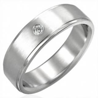 Brúsený oceľový prsteň so zirkónovým očkom - Veľkosť: 51 mm