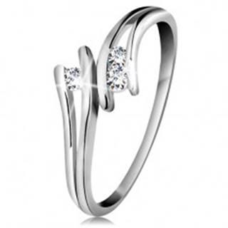 Diamantový zlatý prsteň 585, tri žiarivé číre brilianty, rozdelené ramená, biele zlato - Veľkosť: 49 mm