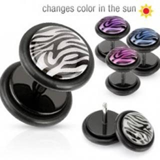 Falošný piercing do ucha - koliesko s tigrím vzorom - Farba piercing: Fialová
