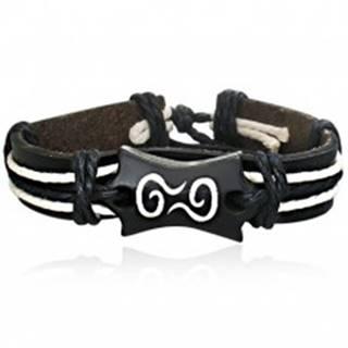 Kožený náramok - čierny pás so šnúrkami a symbol špirály
