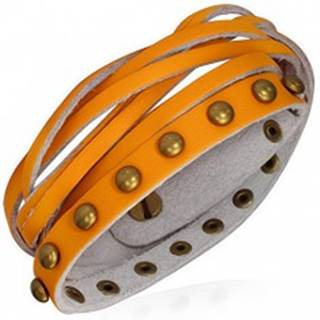 Kožený náramok - oranžové pásiky, zlaté polgule a pletenec