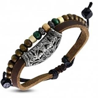 Kožený náramok - pás s kovovou ozdobou a šnúrka s korálkami