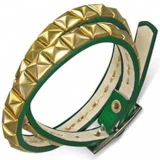 Kožený náramok - zelený opasok, pyramídy zlatej farby